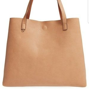 Street Level faux leather reversible tote